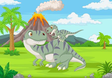 Vector illustration of Cartoon mother and baby dinosaur in the jungle