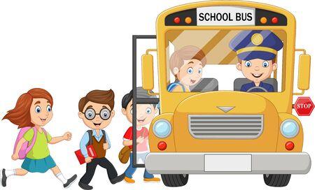 Illustration vectorielle d'enfants heureux de dessin animé embarquant dans un autobus scolaire
