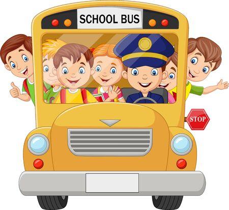 Vector illustration of Happy children on school bus