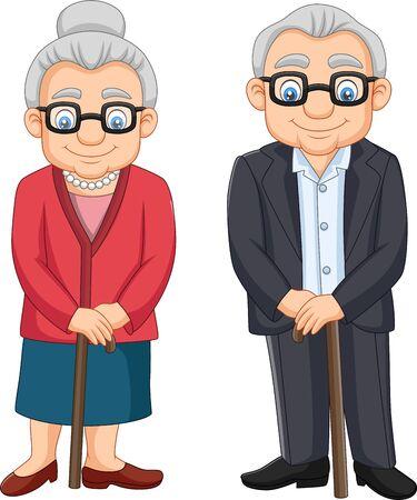Vector illustration of Cartoon elderly couple isolated on white background Vetores