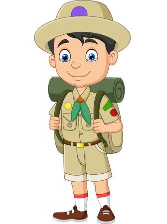 Vector illustration of Cartoon happy little boy scout