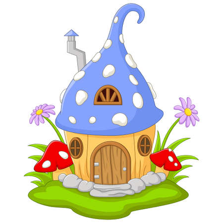 Cartoon Fairy house in the shape of a hat