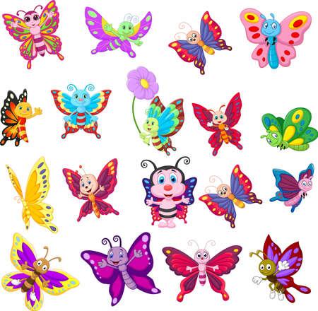 Cartoon collection of butterfly on white background Vektoros illusztráció