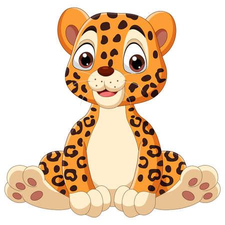 Cute baby leopard cartoon sitting