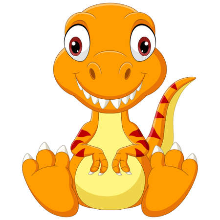 Cartoon baby tyrannosaurus dinosaur sitting