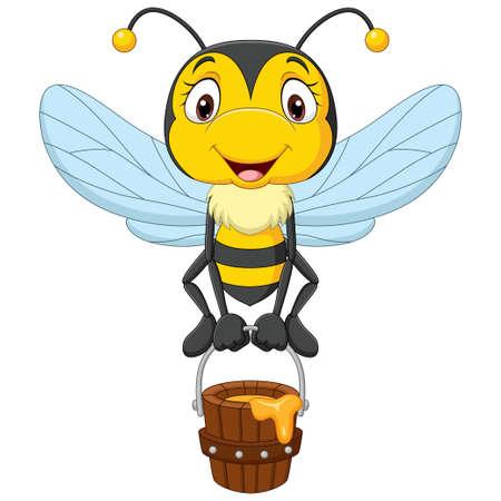 Cartoon cute little bee holding honey bucket