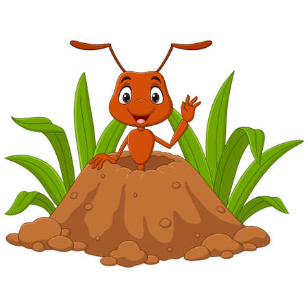 Cartoon ants in the ant hill