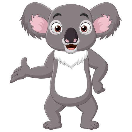 Cartoon happy koala presenting on white background Ilustración de vector