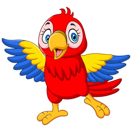 Cartoon funny baby macaw on white background