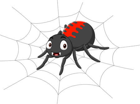 Cartoon spider on the cobweb
