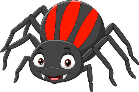 Cartoon funny spider on white background Ilustração Vetorial