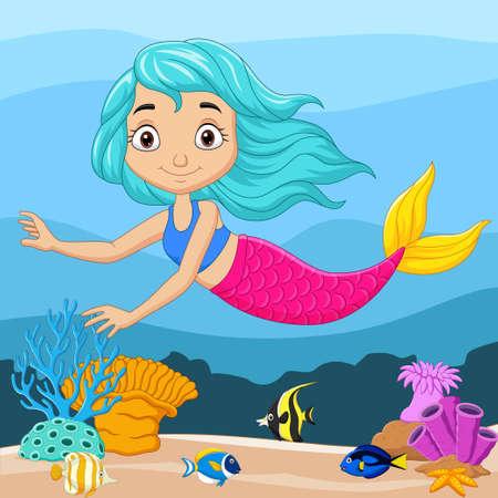 Cartoon little mermaid in the underwater background