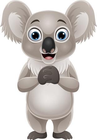 Cartoon funny koala on white background