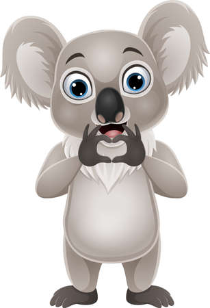 Cartoon little koala making hand heart gesture