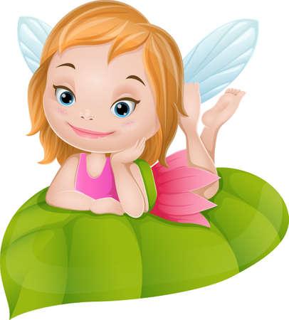 Cartoon little fairy on green leaf Ilustración de vector