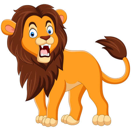 Cartoon lion roaring isolated on white background