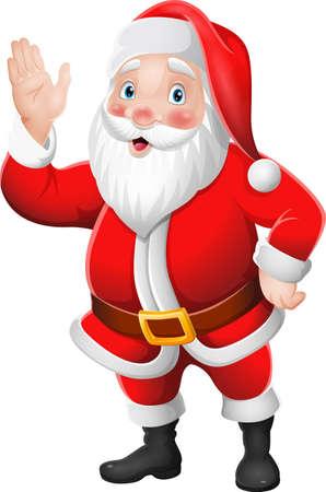 Cartoon Santa Claus waving hand