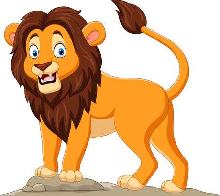Cartoon happy lion on white background Vektorové ilustrace