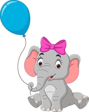 Cartoon elephant with a blue balloon Vecteurs
