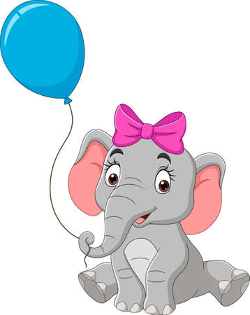 Cartoon elephant with a blue balloon Vektoros illusztráció