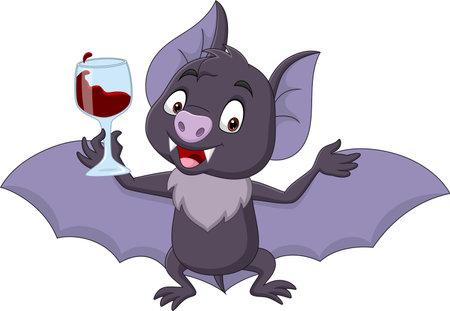 Cartoon bat holding glass of blood