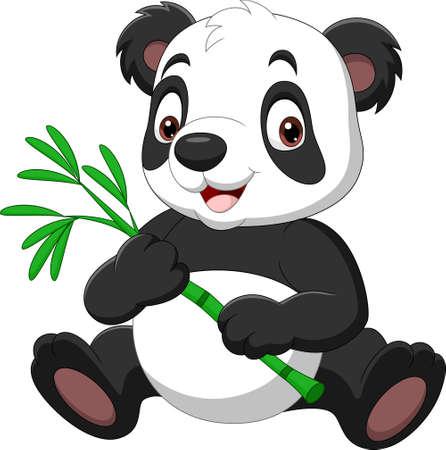 Cartoon funny panda holding bamboo