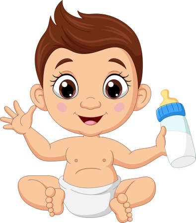 Cartoon little boy sitting with bottle milk Vektorgrafik