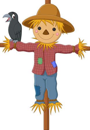 Cartoon funny scarecrow with crow bird