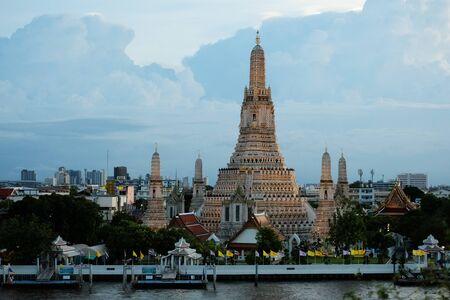 Big pagoda raises upward to blue sky 1