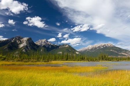 pantanos: Hermoso paisaje canadiense: Pantanosa Lago, Monta�as Rocosas y el cielo nublado. La foto se toma en Parque Nacional Jasper, Alberta, Canad� Foto de archivo