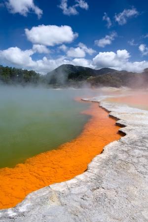 Champagne Pool in Wai-O-Tapu Geothermal Wonderland, New Zealand  photo