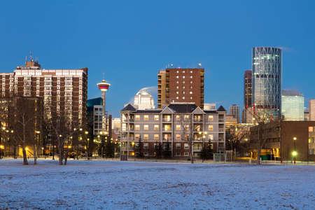 calgary: Calgary, Canada - February 11, 2012: Calgary Downtown at sunrise Editorial