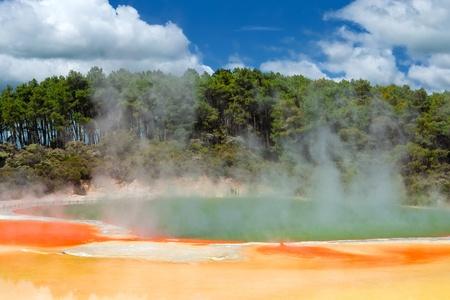 hydrothermal: Champagne Pool in Wai-O-Tapu Geothermal Wonderland, Rotorua, New Zealand