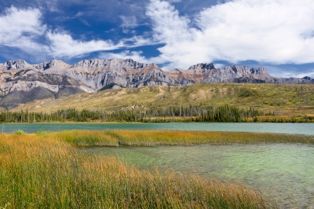 cane creek: Beautiful Canadian Landscape  Swampy Talbot Lake, Rocky Mountains and Cloudy Sky  Photo is taken in Jasper National Park, Alberta, Canada