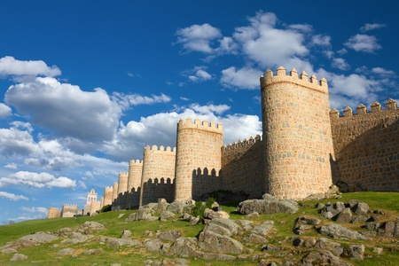 Medieval city wall built in the Romanesque style, Avila (City of Stones and Saints), Spain