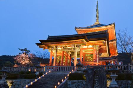east gate: Seimon Gate and Three-storey Pagoda of Kiyomizu Temple in Kyoto, Japan
