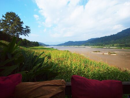 veiw: Makhong river veiw from terrace Stock Photo