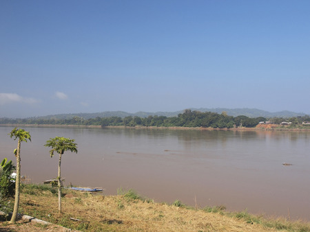 boundary: Mekong river The nature boundary of Thailand-Laos Stock Photo