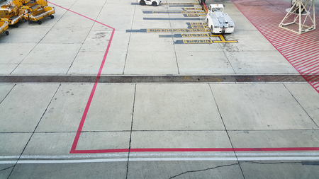 attaining: The runway in the airport Stock Photo