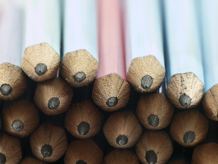 The pile of pencils in selective focus