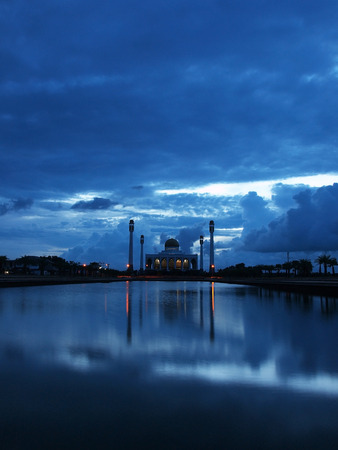 The Central Mosque of Songkhla (Central Masjid of Songkhla) in twilight Stock Photo