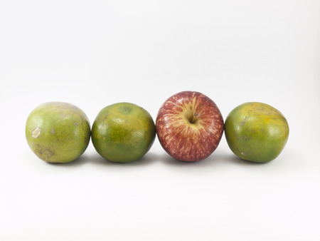 dissimilar: Apple placed in a different row of orange.