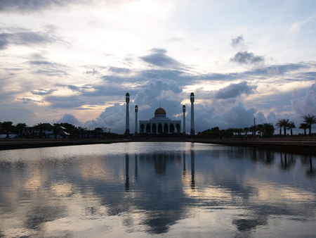 hushed: The beautiful cloud with sky over The Central Mosque of Songkhla (Central Masjid of Songkhla) before sunset