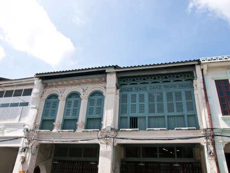 orificio nasal: la antigua vivienda Sinoportuguesa en Phuket, Tailandia Foto de archivo