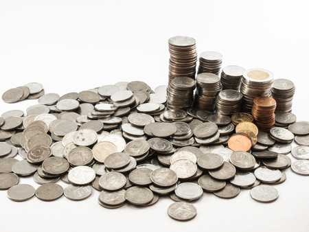 sort out: Classification of currency(Bath) to bank Stock Photo