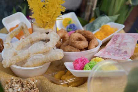 Candy for merit of Ancestors Day. in Southern of Thailand festival Stock Photo