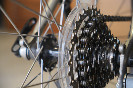 Chain and gear of used bike Stock Photo