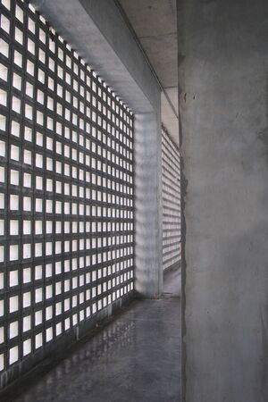 Walls made of block brick can be breathable. And bring light into the building. Banco de Imagens