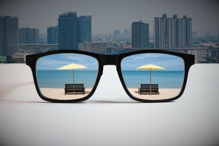 Work-Life-Balance: An abstract illustration of the modern way of life that must be considered in the balance of time and work.By reflecting of the travel destination image through the lens of glasses that look at the big city.