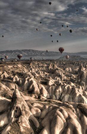 the crags: Balloons Over Cappadocia Stock Photo